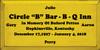 """9x18 Sunflower board with Black text  Circle """"B"""" Bar - B - Q Inn"""