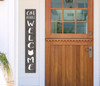 Outdoor Welcome Sign for Porch - Cat People Welcome - Vertical Porch Board 8x47
