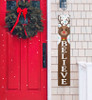 Outdoor Welcome Sign for Porch - Believe with Rudolph Reindeer - Vertical Porch Board 8x47 Christmas Theme