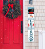Outdoor Welcome Sign for Porch - Let It Snow with Snowman - Vertical Porch Board 8x47 Winter Theme