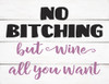 No Bitching But Wine All You Want - Block Wooden Sign 5x6.5