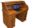 Solid Oak Roll Top Desk  with Warm Harvest  Stain