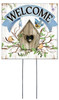 Welcome with Birdhouse - Square Outdoor Standing Lawn Sign 8x8