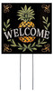 Welcome - Black with Pineapple - Square Outdoor Standing Lawn Sign 8x8