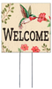 Welcome with Hummingbird - Square Outdoor Standing Lawn Sign 8x8
