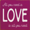 All You Need Is Love Is All You Need - Wood Sign 7x7