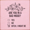 Are you in a bad mood? Yes. No. B!tch, I might be (with checkboxes) Square Wooden Sign