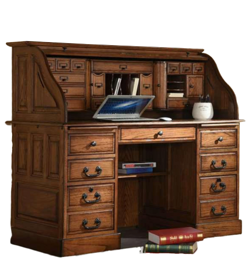 Solid Oak Roll Top Deluxe Executive with Burnished Antique Medium Stain Double Pedestal with Locking File Drawers and Tambour Classic Antique Styling with Dove Tailed Drawers and Raised Panel Sides USB port and Two Plugs Built In For Easy Access Behind Top Center Drawer Panel