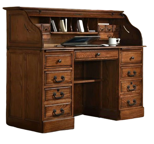 Solid Oak Roll Top Desk  with Antiqued Burnished Walnut Stain