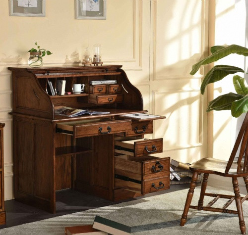 """Solid Oak 42"""" Roll Top Desk Perfect for small areas and as a student desk Single Pedestal with Locking File Drawer Solid Wood Construction Dovetailed Drawers Shown Burnished Walnut Stain on Oak"""