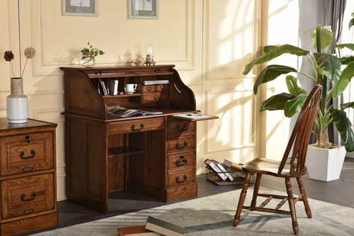 "Solid Oak 42"" Roll Top Desk Perfect for small areas and as a student desk Single Pedestal with Locking File Drawer Solid Wood Construction Dovetailed Drawers Shown Burnished Walnut Stain on Oak"