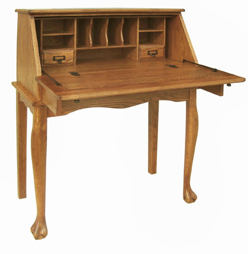"Secretary Desk Solid Oak Wood Drop Front Desk with Drawer Sturdy Curved Cabriole Legs 32"" W x 29"" D x 41.5"" H Laptop Desk Burnished Walnut Finish Home Office, Kitchen, Family Room, Bedroom"