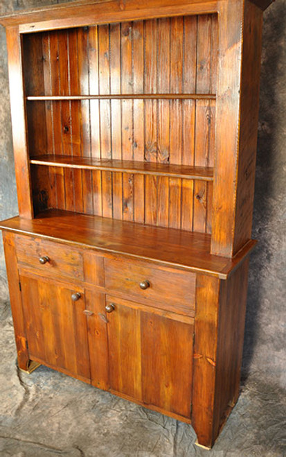 Rustic Reclaimed Wood Stepback Hutch with 2 Drawers and 2 Doors Custom sizes available