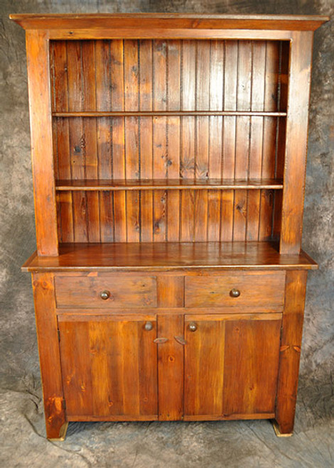 Rustic Reclaimed Wood Stepback Hutch Flat Panel Door 51in. W