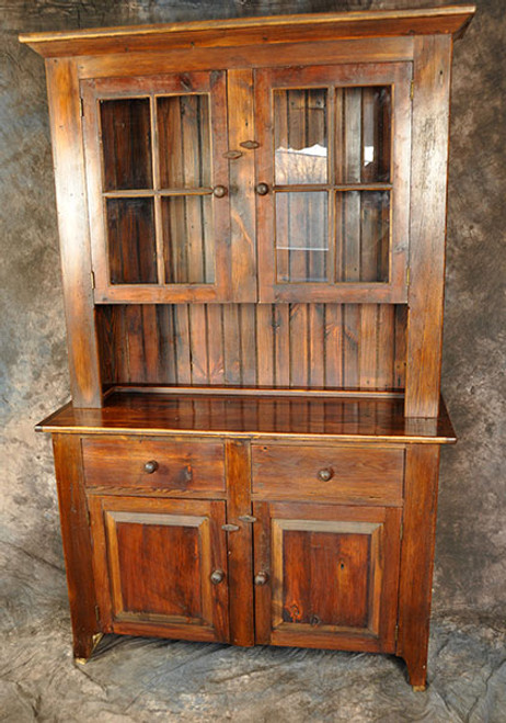 "Rustic Reclaimed Wood Stepback Hutch with Glass Doors 51"" Wide Custom Sizes Available"
