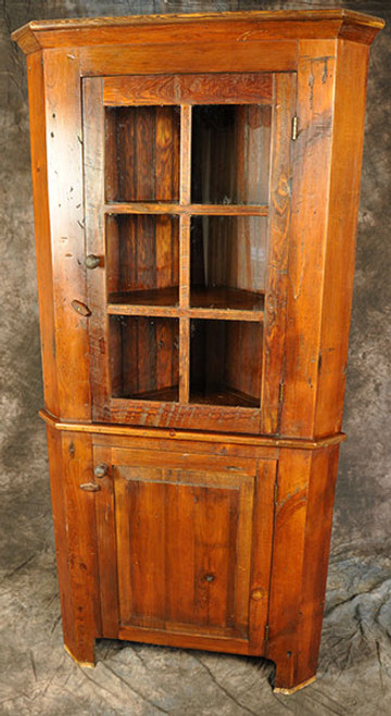 Rustic Reclaimed Corner Hutch with Glass Door & Raised Panel Door Custom sizes available