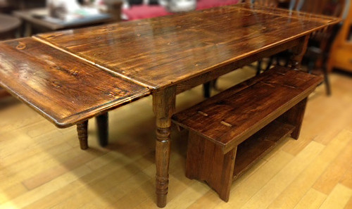"""Reclaimed Wood Farm Table with two 15"""" leaf extensions"""