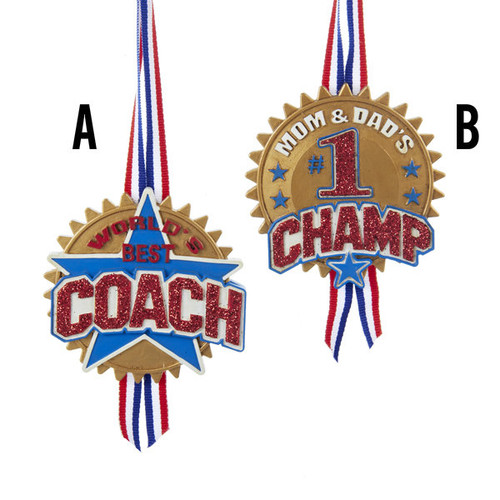World's Best Coach and Mom & Dad's #1 Champ Medal Ornaments