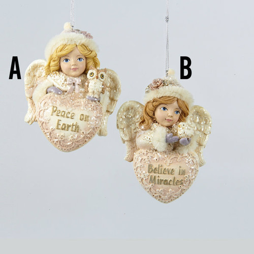 Angel With Heart Ornaments Peace On Earth + Believe In Miracles (9