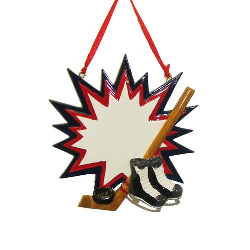 Hockey Burst Personalized Ornament