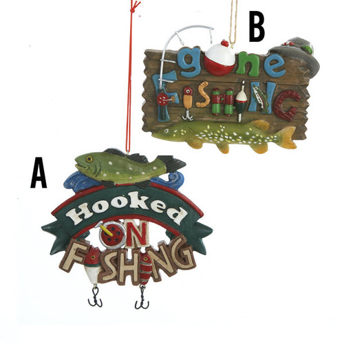 Painted Fishing Plaque Ornament