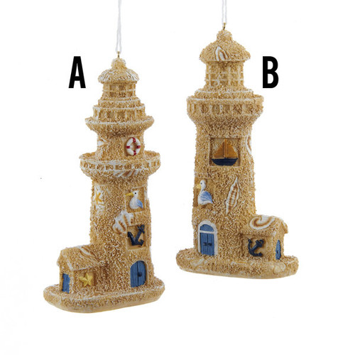 Lighthouse Sandcastle Ornaments 2 Assorted 5 inch