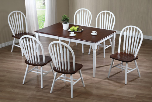 Solid Wood Farm Table 36x48 + 4 Fanback Chairs +12 Inch Self Storing Leaf  Dark Cherry with White