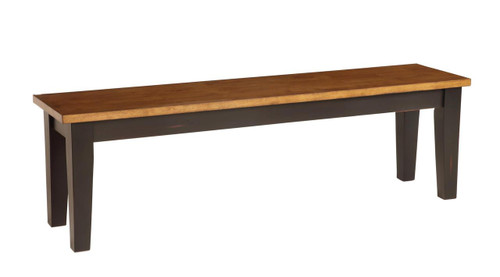 """Pecan and Black 60"""" Bench"""