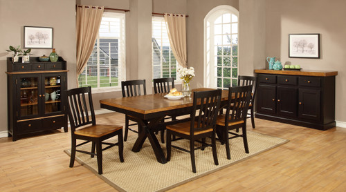 Chatham X Leg Solid Wood Dining Table with 4 Slat Back Chairs  Pecan and Black Finish