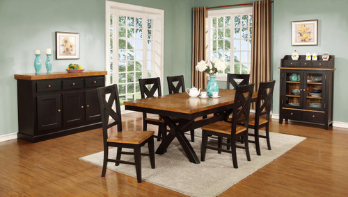 Pecan & Black Dining Set with X Back Chairs X Base Solid Wood Dining Table Chatham 42x66+18 Leaf with Four X Back Chairs