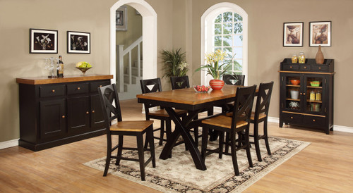 Black & Pecan Chatham Pub Table  with X Back Barstools