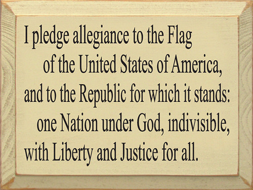 Wood Sign - Pledge Allegiance 12in. x 9in.