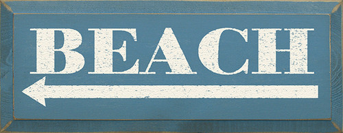Beach Arrow Wood Painted Sign 18in x 7in