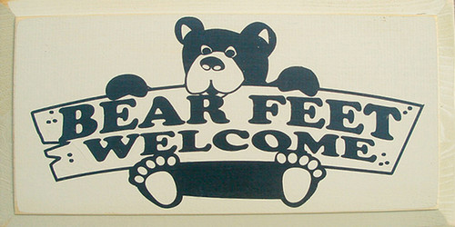 Bear Feet Welcome Wood Sign