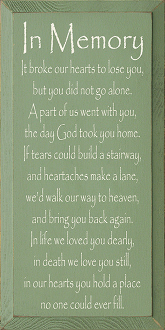 In Memory - It broke our hearts to lose you, but you did not go alone. A part of us went with you, the day God took you home. If tears could build a stairway, and heartaches make a lane, we would walk our way to heaven, and bring you back again. In life we loved you dearly, in death we love you still, in our hearts you hold a place no one could ever fill.