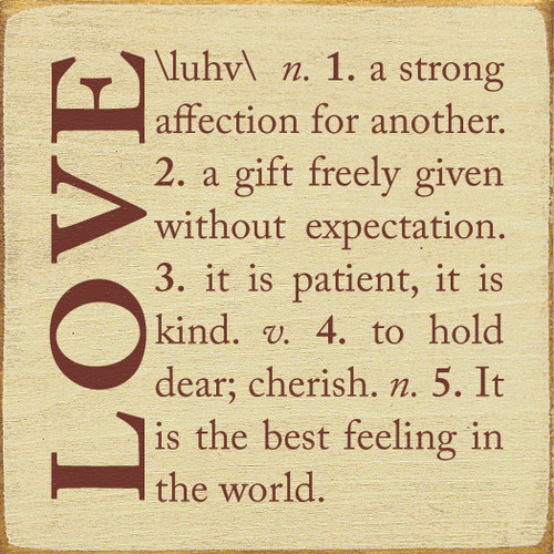 Wood Sign - Love Definition 7in.x 7in.