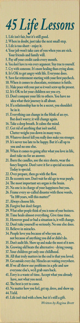 Wood Sign - 45 Life Lessons