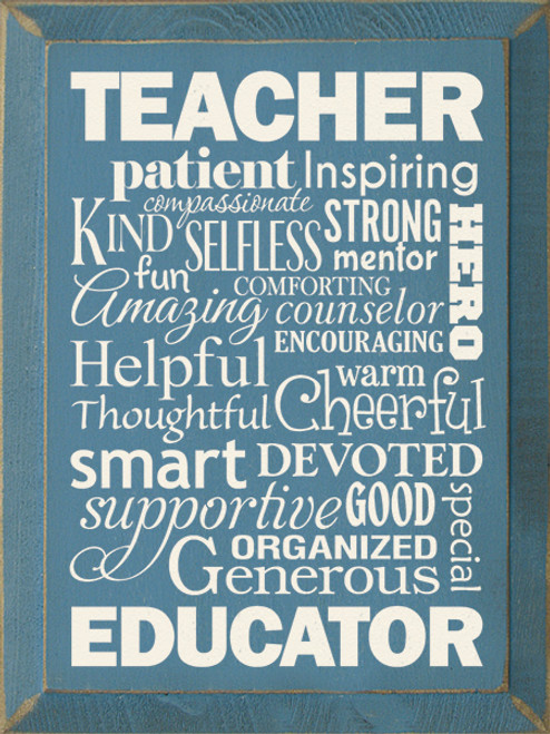 Teacher Wordle Wood Sign