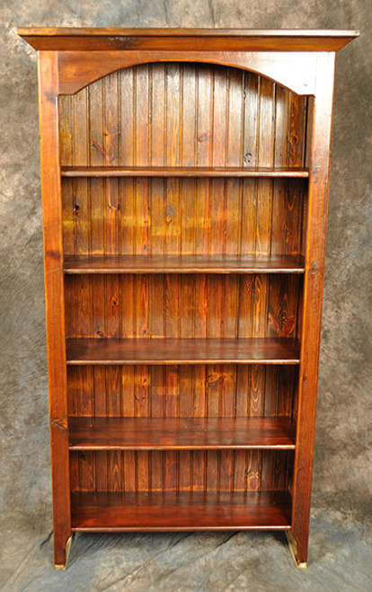 Rustic Reclaimed Wood Arched Bookcase 3L x 14D x 72H