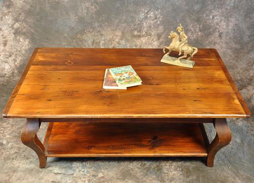 Rustic Reclaimed Wood Cabriole Leg Coffee Table With Shelf 48L x 30W x 18H