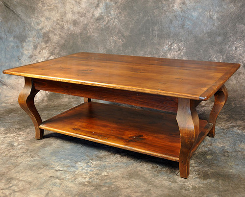 Rustic Reclaimed Wood Cabriole Leg Coffee Table With Shelf 48L x 30W x 18H