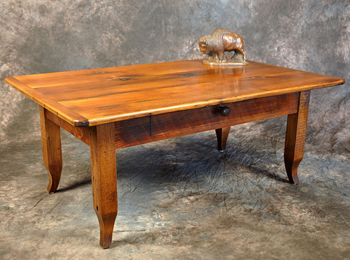 Rustic Reclaimed Wood French Leg Coffee Table With Drawer 44L x 28D x 30H