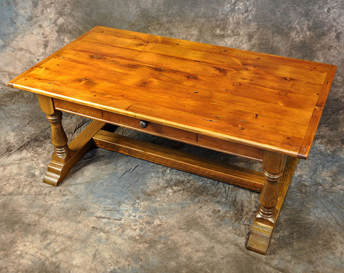 Rustic Reclaimed Wood Trestle Coffee Table With Drawer 48L x28D x20H