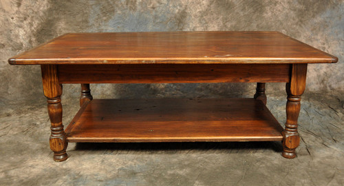 Rustic Reclaimed Wood Turned Leg Coffee Table With Shelf 48Lx30Dx18H