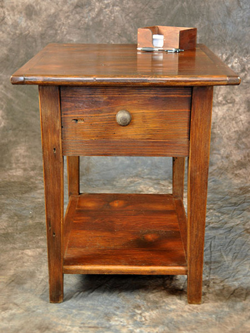 Rustic Reclaimed Wood End Table With Shelf & Drawer 24L x 20D x 24H