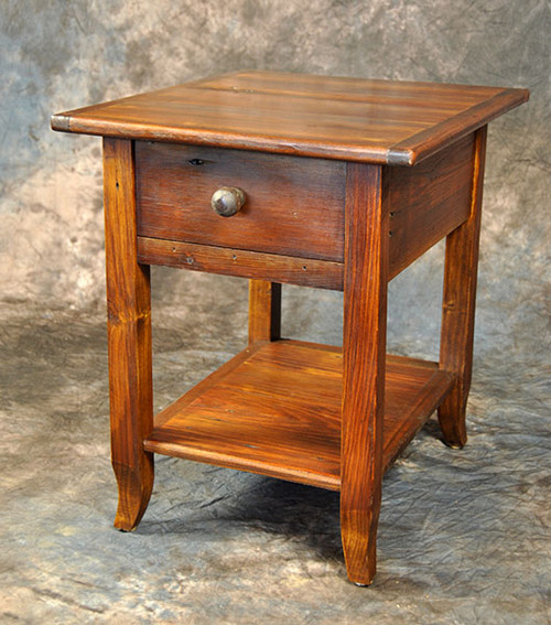 Rustic Reclaimed Wood French Leg End Table With Drawer & Shelf 24L X 20D x 24H