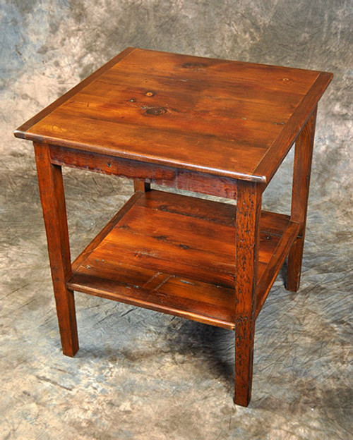 Rustic Reclaimed Wood French Square Cricket Table 23L x 23D x 27H