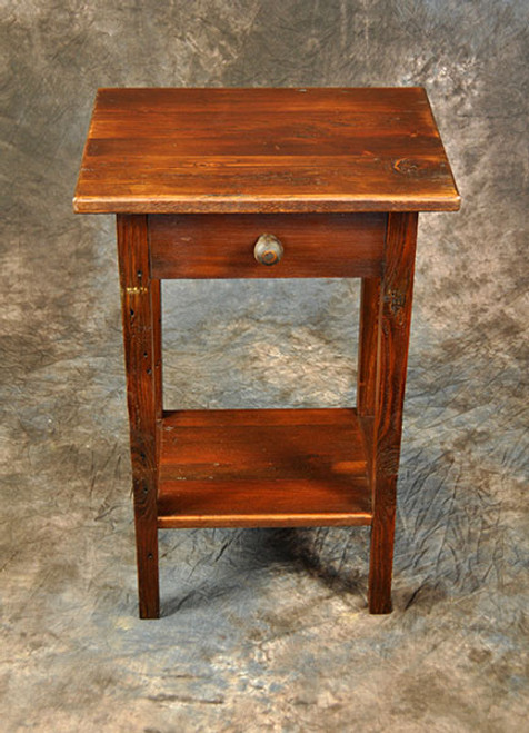 Rustic Reclaimed Wood Small End Table With Drawer & Shelf 19L x 14D x 30H