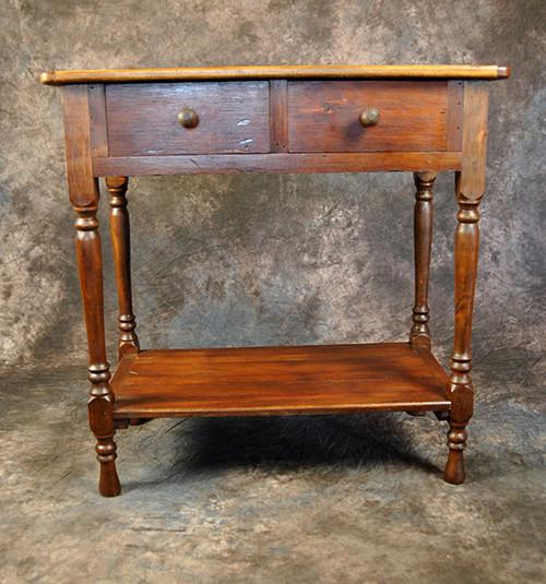 Rustic Reclaimed Wood Turned Leg 2 Drawer Huntboard 36L x 20D x 36H