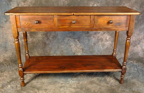 Rustic Reclaimed Wood Turned Leg 3 Drawer Huntboard 56L x 20D x 36H